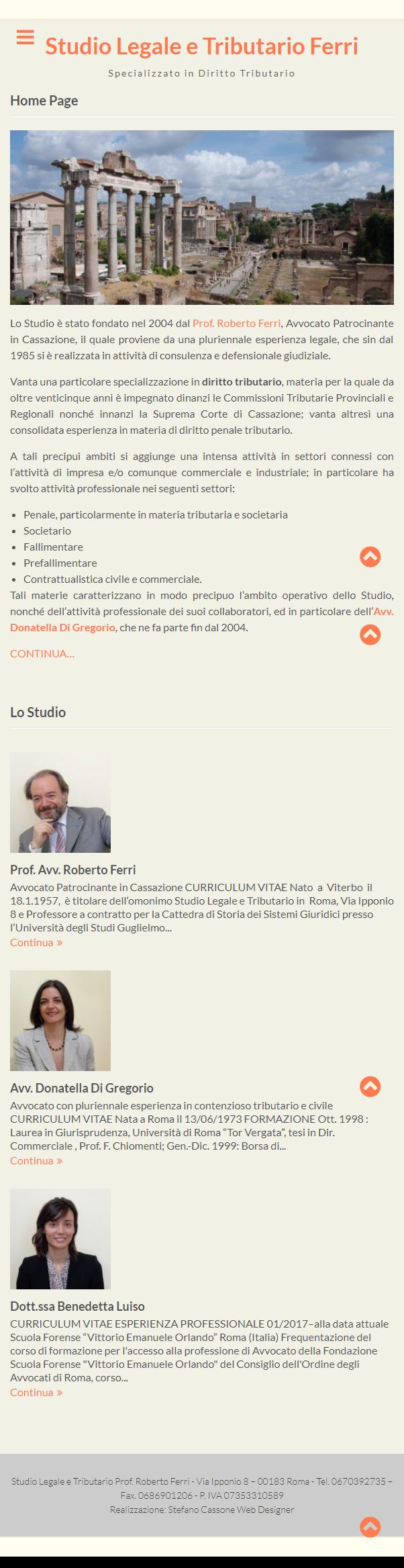Studio Legale e Tributario Ferri - Home Page - Mobile
